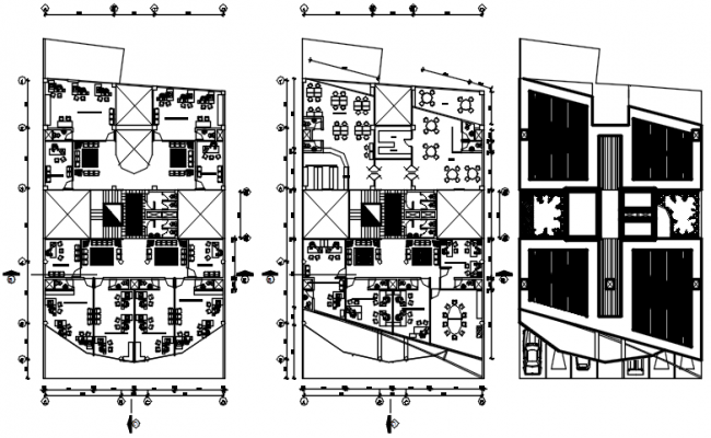 Drawing of office plan with detail dimension in dwg file