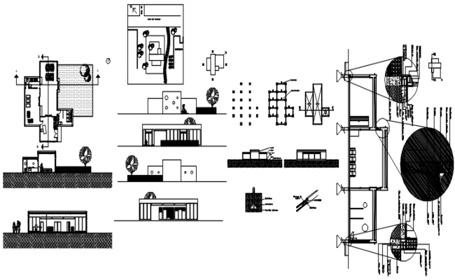 Drawing of office plan with foundation details in dwg file