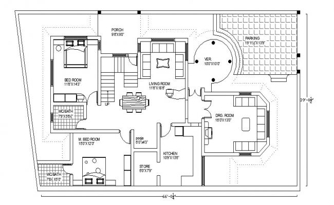 Drawing of residential house 39' x 66' with detail dimension in AutoCAD