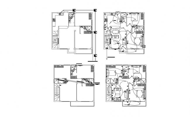 Drawing of residential house with detail dimension in dwg file