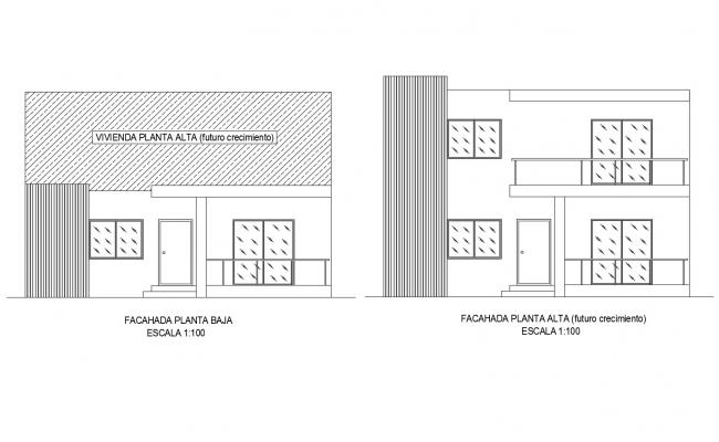 Drawing of residential house with elevation in dwg file