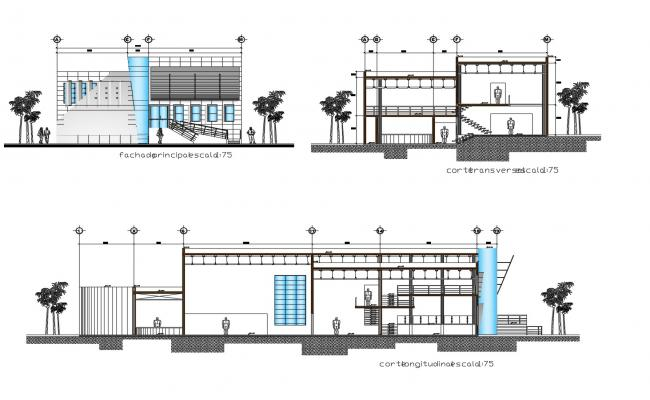 Drawing of restaurant building with elevation in AutoCAD