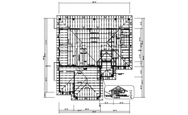 Drawing of roof plan 62 ft X 58 ft in dwg file