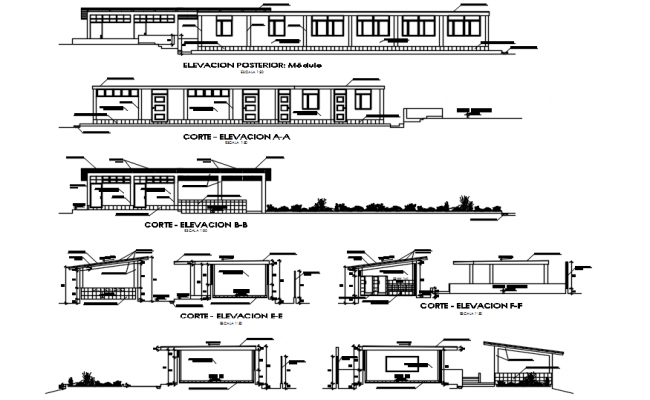 Drawing of school design in AutoCAD