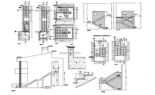 Staircase Drawing Detail In DWG File