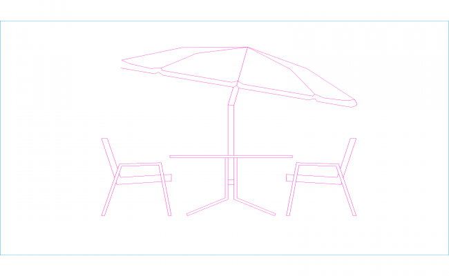 Drawing of table and umbrella on the seaside, umbrella dwg in AutoCad