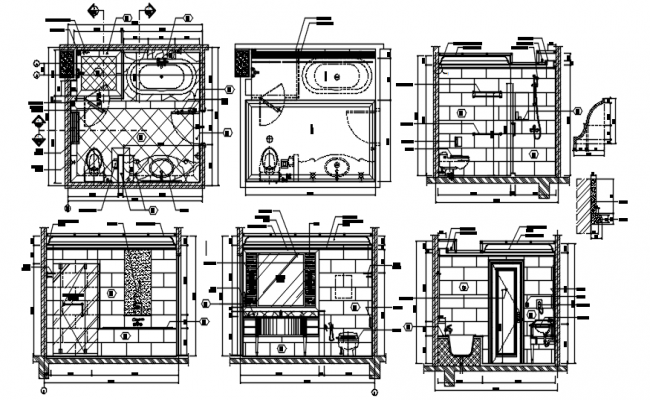 Drawing of the bathroom with dimension in dwg file