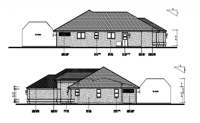 Drawing of the bungalow elevation in dwg file