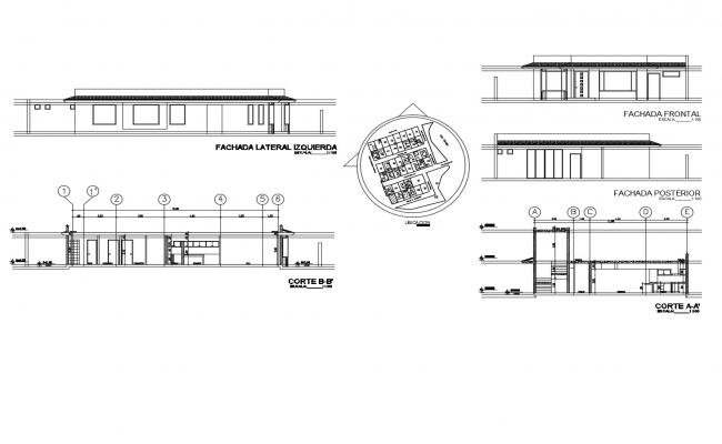 Drawing of the bungalow with detail dimension in AutoCAD