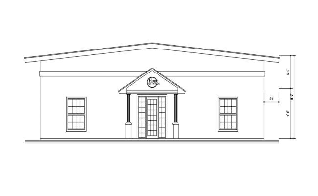 Bungalow Front Elevation In DWG File