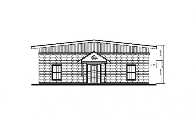 Drawing of the bungalow with detail dimension in dwg file