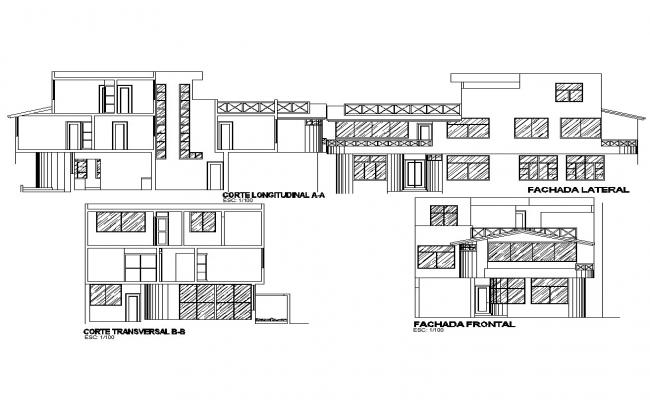 Drawing of the bungalow with different elevation in dwg file