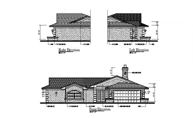 Drawing of the bungalow with elevation in AutoCAD