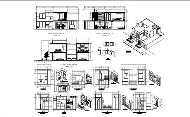 Drawing of the bungalow with furniture detail in autocad