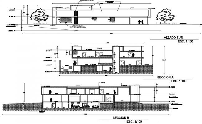House elevation drawing in autocad