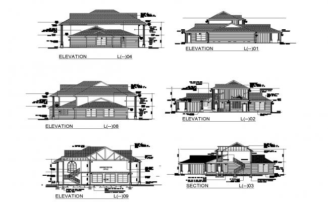 Drawing of the house design in AutoCAD