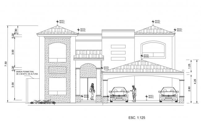 Drawing of the house design with elevation in AutoCAD