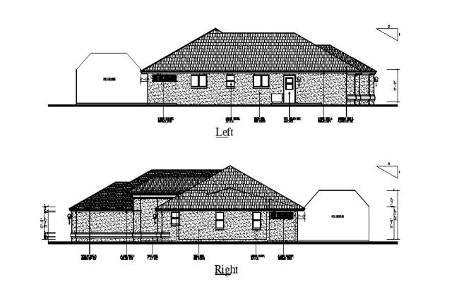 Drawing of the house with elevation in dwg file