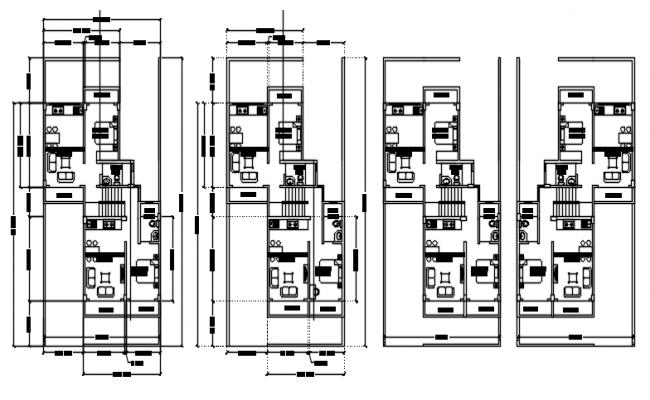 Drawing of the house with furniture in dwg file