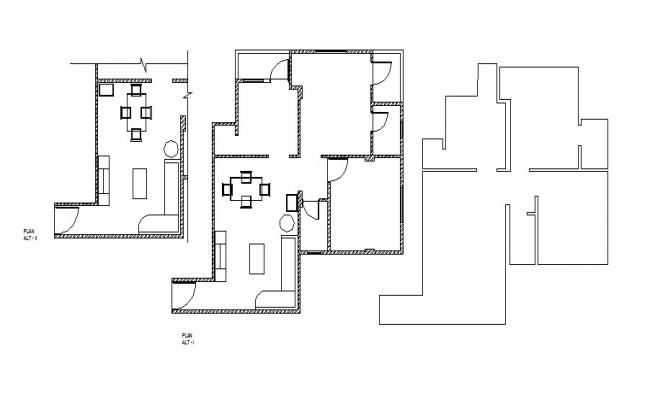 Drawing of the house with furniture layout in dwg file