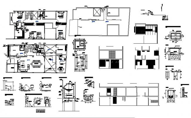 Drawing of the house with sanitary layout plan in dwg file
