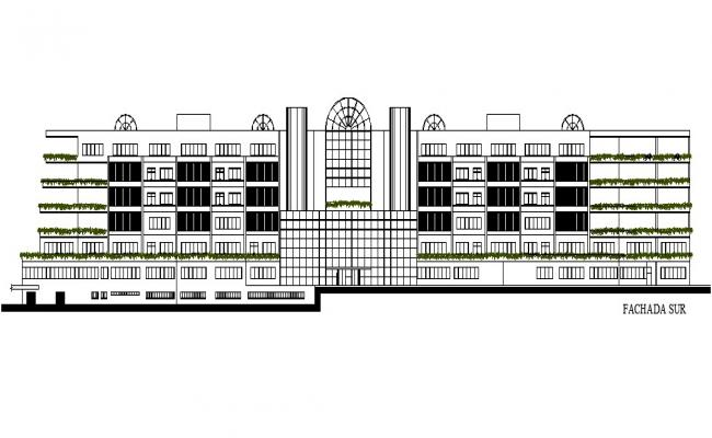 Drawing of the multistorey building in dwg file