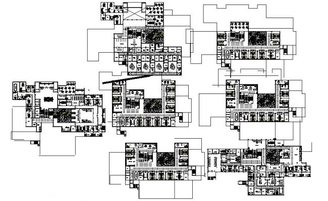 Drawing of the multistorey hospital with different elevation in dwg file