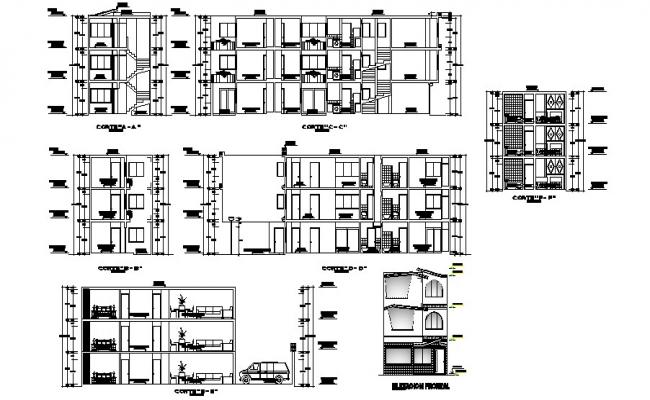 Drawing of the residential apartment with elevation in dwg file