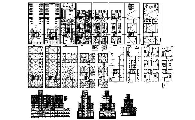 Drawing of the residential apartment with elevations