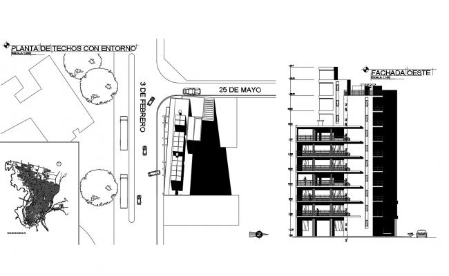 Drawing of the residential building with detail dimension in AutoCAD