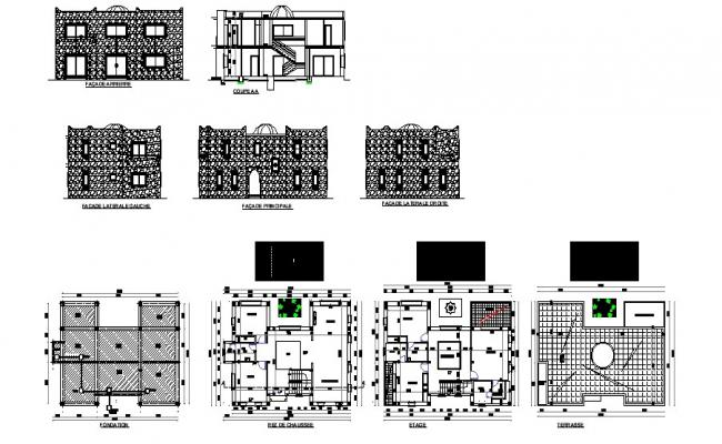 Drawing of villa 13.95mtr x 1.080mtr with section and elevation in dwg file