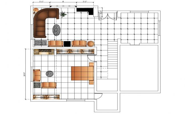 Drawing room and bedroom furniture layout plan details dwg file