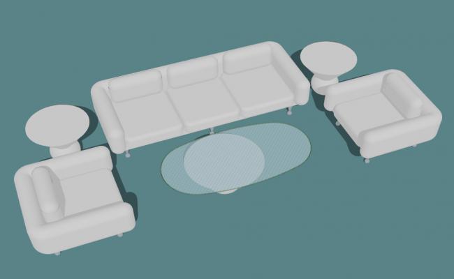 Drawing room sofa 3d view skp file