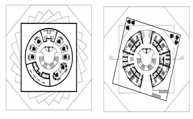 Drawings details 2d view floor layout plan of hotel building dwg file