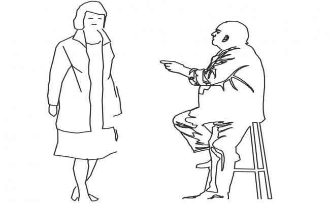 Drawings details of CAD people blocks of men and woman dwg file