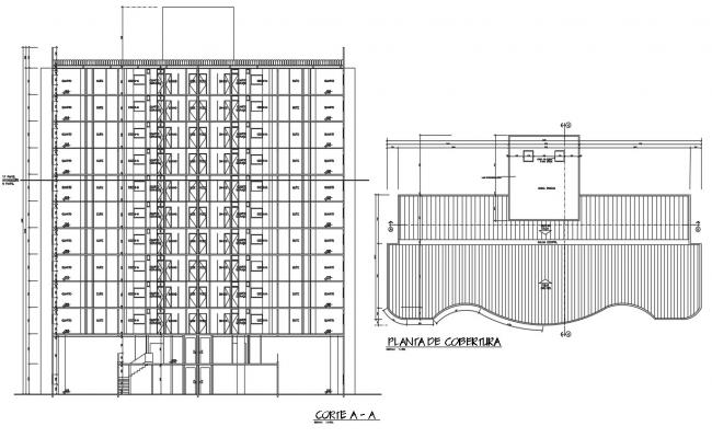 Drawings details of building section and roof terrace plan dwg file