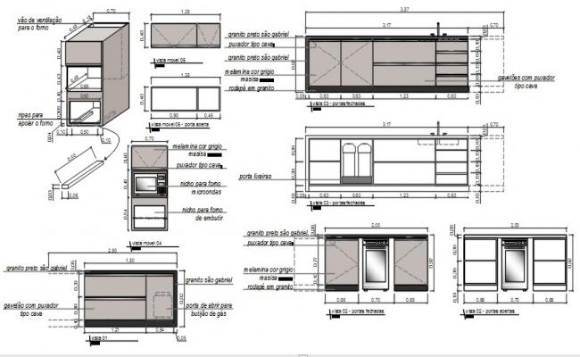 Drawings details of kitchen automation units dwg file