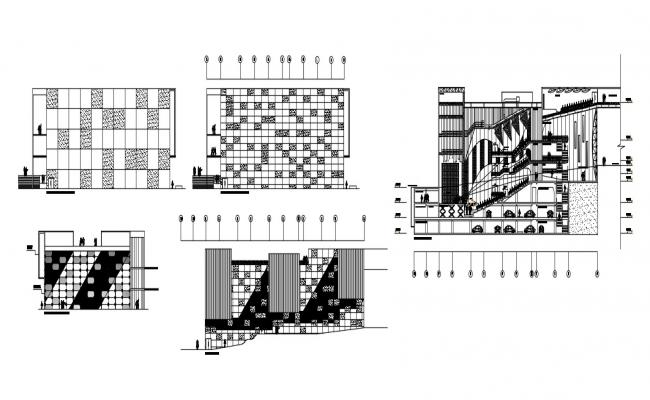 Drawings of commercial building sectional and elevation detailed dwg file