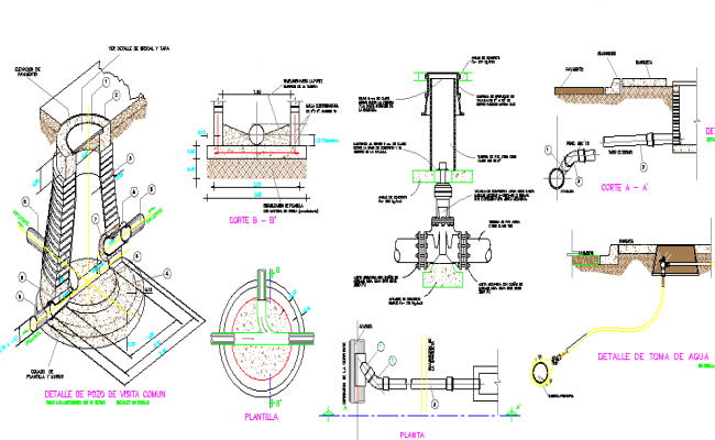 Drinkable water tank constructive details dwg file