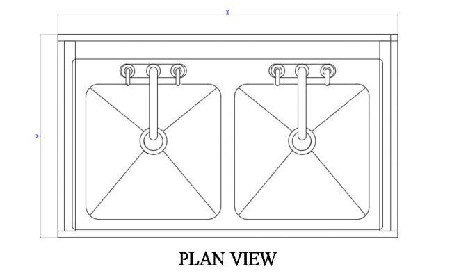 Dual Sink Elevation Design CAD File Free Download