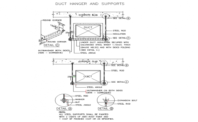 Duct hanger and supports plan detail dwg.