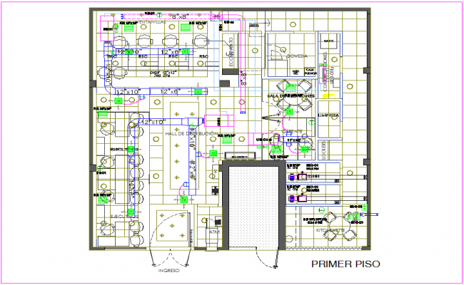 Ducts pipe line view with first floor plan for IIMM office dwg file