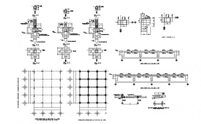 Dump house foundation plan details with column and beam dwg file