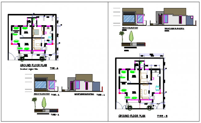 Duplex design drawing with type -A and B