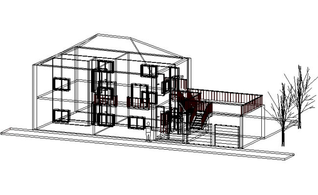 Duplex house 3 D detail dwg file