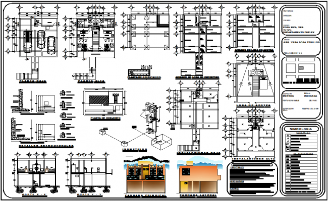 Duplex house design view with plan,elevation and electrical and structural view dwg file