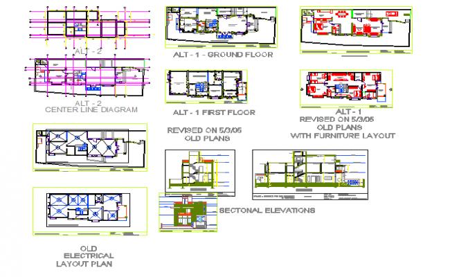 Duplex house interior detail in DWG file.