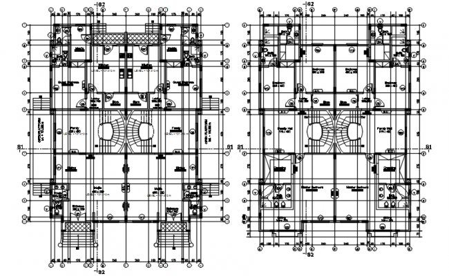 Duplex house plan with detail dimension in dwg file