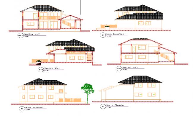 Duplex villa dwg file