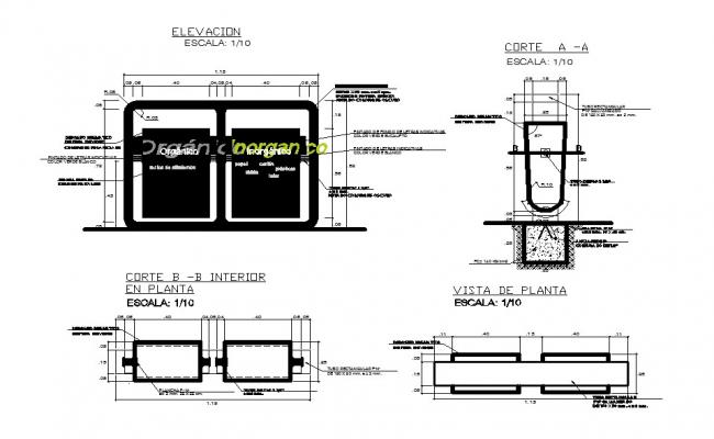 Durable garbage bin garnish and auto-cad details dwg file